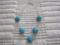 GENUINE TURQUOISE GEMSTONE AND SILVER COLLAR NECKLACE
