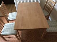 Table and four chairs, no scratches or scuffs