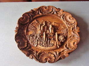 Hand carved German wall plate