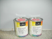 2 Benjamin Moore tester cans and 1large sample card