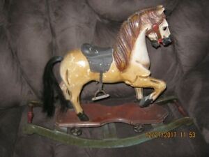 Antique rocking horse, Wooden, Leather Saddle, Real Hair