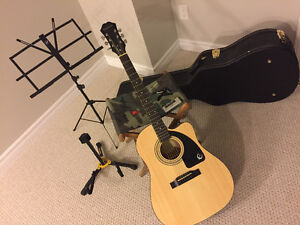 Acoustic Guitar, case, stand, capo, slide, tuner