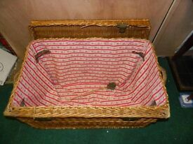 Large french wicker basket with lining.