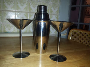 2 Stainless Steel Martini Glasses and Cocktail Shaker
