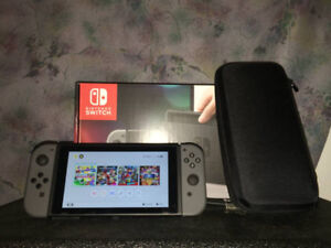 Gray Nintendo Switch + 3 Games & Case