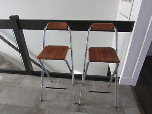 2 Ikea wooden bar/island stools with foot rest