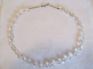GENUINE ROCK CRYSTAL AND SILVER NECKLACE