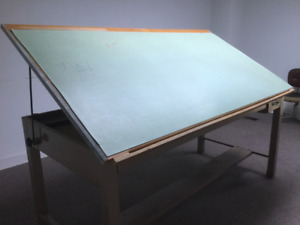 Large Work/Drafting Desk and Drafting Chairs