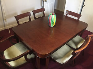 Antique dining set- solid wood mahogany table and 6 chairs