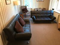 2x Genuine Brown Leather Sofa Bed