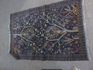 1 PERSIAN VINTAGE HAND KNOTTED RUG 50 INCHES BY 75 INCHES