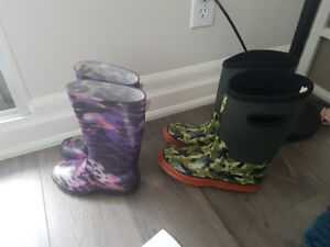 Rain boots for boys size 4 and for girls size 13