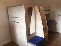 Kids high sleeper cabin bed with desk & built in wardrobe