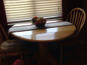 Soled wood Dinette table and 2 chairs with cushions