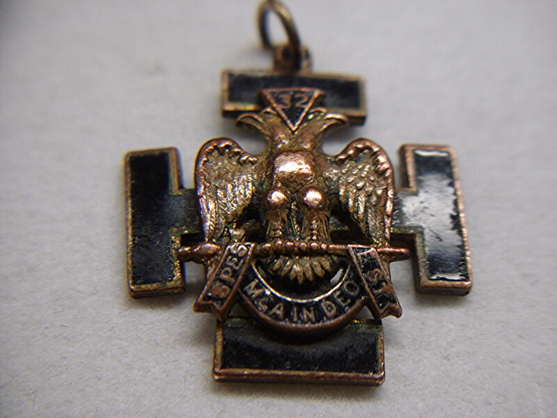 VINTAGE 32nd DEGREE MASONIC MEDAL WITH BLACK ENAMELING - NEAT OLD COLLECTIBLE