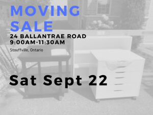 Moving Sale - Saturday Sept 22 9-11:30am