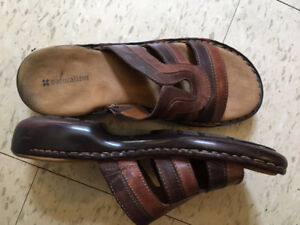 Naturalizer Brown Leather Sandals Size 9.5 Good Condition