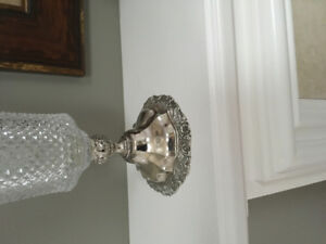 Beautiful crystal vase with silver base