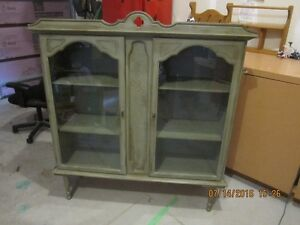 Refinished Wood Display Cabinet