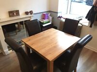 Extendable Wooden Table, Chairs & Sideboard Set