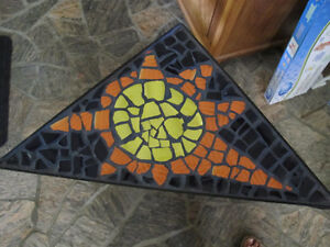 Wrought iron and mosaic corner table
