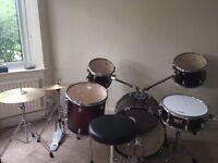 Dark Red Olympic Premier drum kit