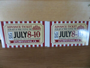 2 tickets to the Atlin Music festival