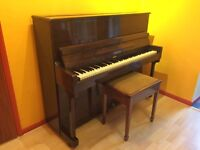 Piano and stool for sale - upright, suitable for beginner.