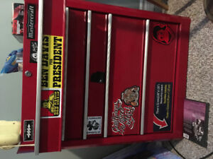 Brand new tool box still has the wheels in the box .