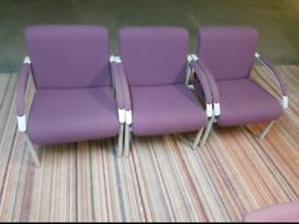 Chairs - Quality Heavy Duty Extra Comfy Purple Fabric & Grey Metal Arm