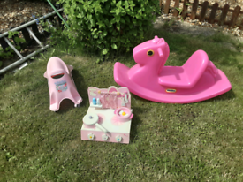 Toddlers little tikes rocking horse. ELC whirlee. Wooden Cooker