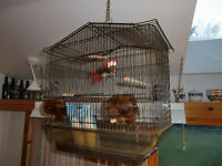 LARGE hanging/standing Bird Cage with accessories - LIKE NEW