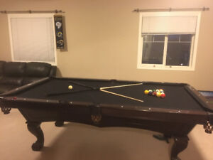Pool table - 8 footer Brunswick with matching cue rack