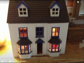 Doll's House with Electric Lights and Furniture