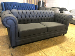 I have Brand new in packaging Custom Made Chesterfield in a Gray