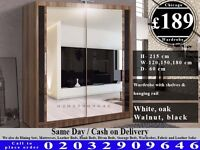 FULL MIRROR SLIDING WARDROBE DOORS HAVY QUALITY WALLNUT WHITE BLACK Lima