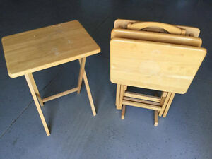 Solid Wood End Tables Set