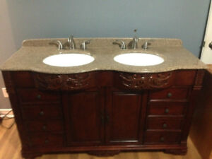 "60"" Double Bathroom Vanity for sale with hardware included"