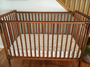 Wooden crib and change table