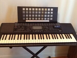 Keyboard, stand, case and music books