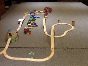 Train track with trains