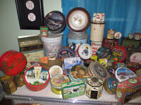 HUGE COLLECTION of VINTAGE TINS/ADVERTISING/MANY TYPES