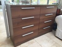 Walnut large chest of drawers
