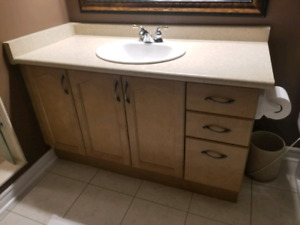 """53"""" single sink vanity with mirror and 4 lamp light"""