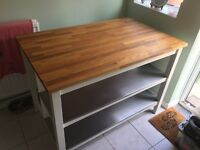 IKEA STENSTORP kitchen island -Solid Oak top with stools