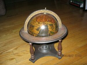 Gorgeous 6.25 Inch Diameter Old World Globe on Stand