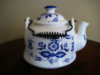 Charming Vintage Blue and White Ceramic Teapot Delft Style