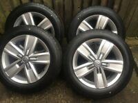 "17"" VW TRANSPORTER T5 T6 T32 ALLOY WHEELS GENUINE CONTINENTAL TYRES BRAND NEW x 4"