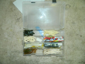 Box of fishing rubber worms