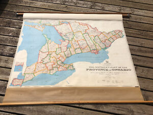 Vintage Pull Down School Map - Southern Ontario